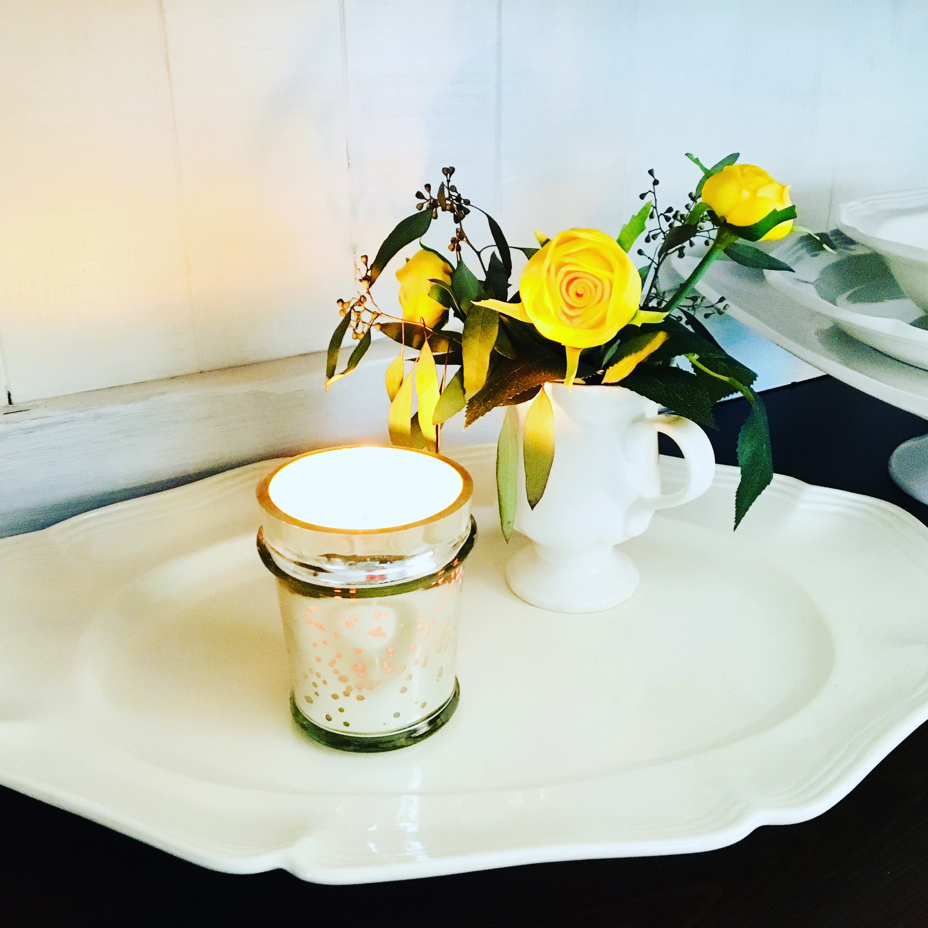 candle flowers platter Warmth to Your Home ourvintagehaven.com